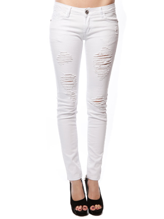 Destroyed White Wash Skinny Jeans | Shop Distressed at Papaya Clothing