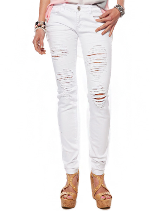 Distressed White Skinny Jeans | Shop Jeans at Papaya Clothing
