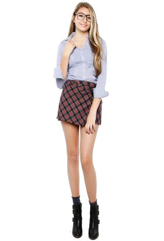 Plaid Double Point Short Skirt | Shop Skirts at Papaya Clothing