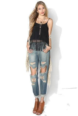 Destroyed Straight Boyfriend Jeans | Shop Jeans at Papaya Clothing
