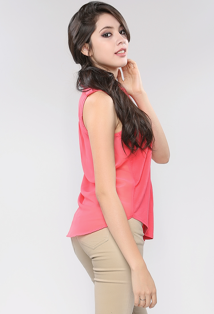 Back-Sheer Sleeveless Blouse