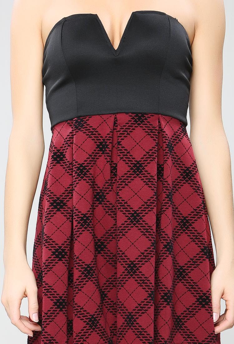 39f4b1b2317 Plaid Skirt Tube Top Dress