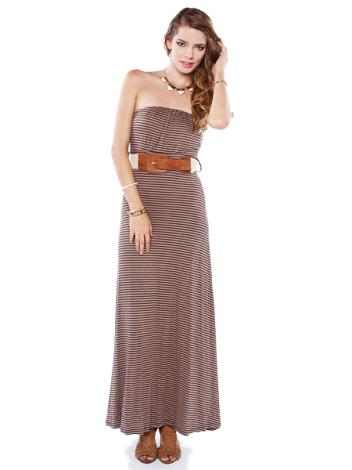 mocha delight stripe maxi dress w belt shop at