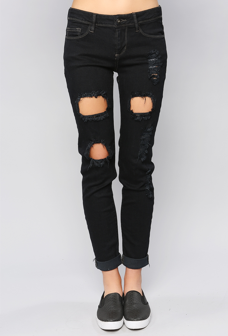 Ripped Black Boyfriend Jeans | Shop Jeans at Papaya Clothing