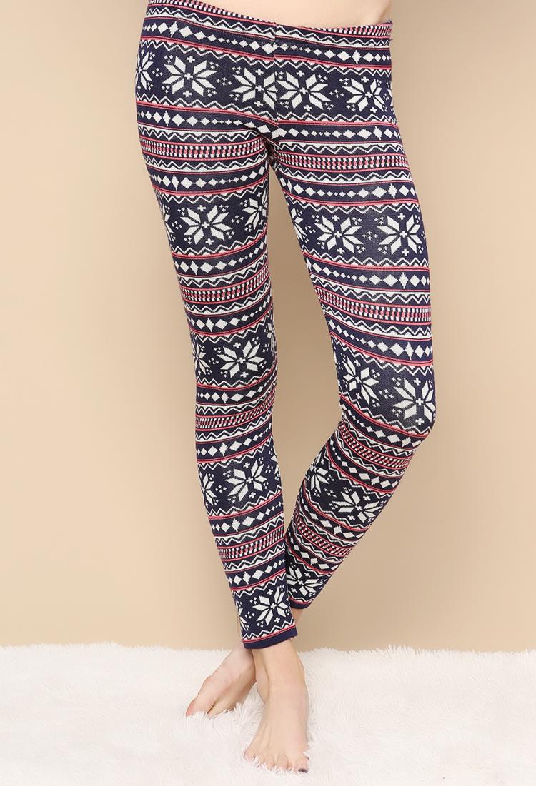Fair Isle Pattern Knit Leggings Shop at Papaya Clothing