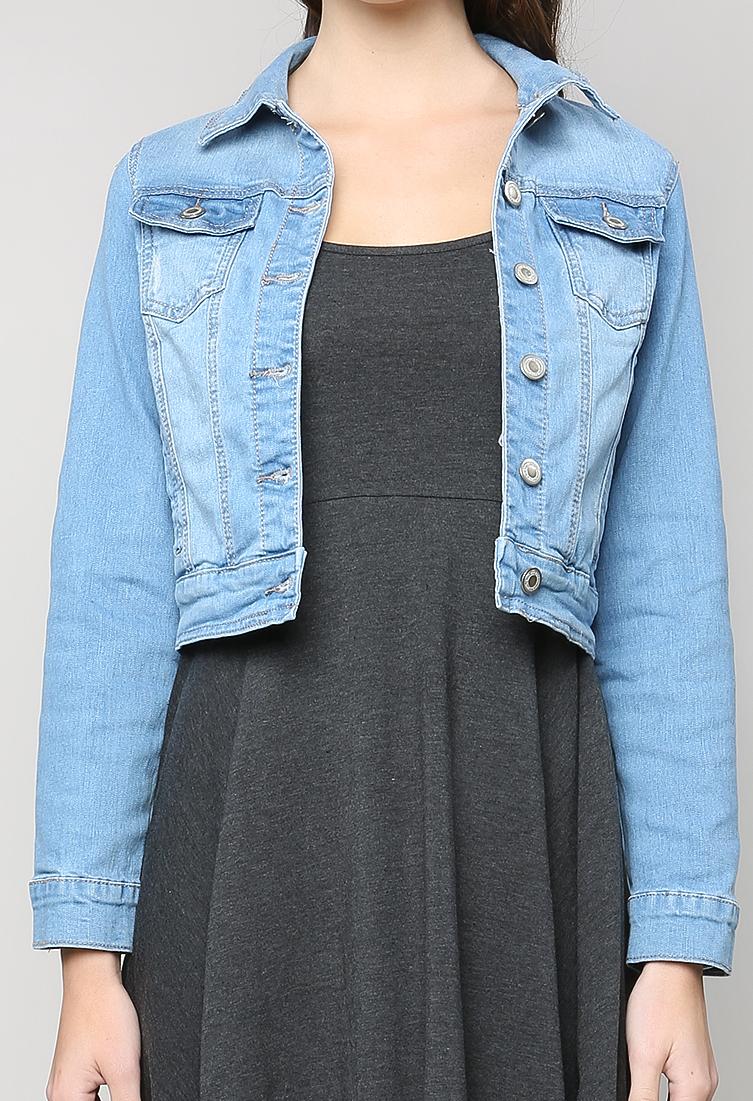 f2715606eb2 Classic Distressed Denim Jacket | Shop Tops Under $15 at Papaya Clothing
