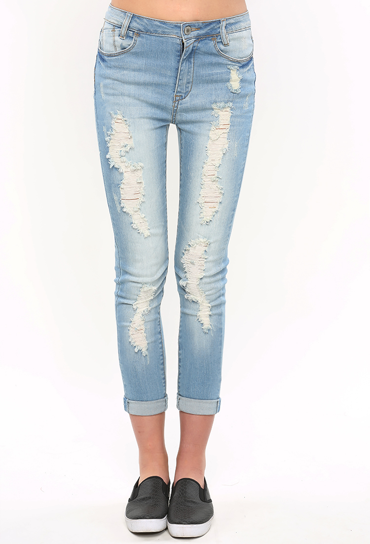 Distressed Capri Jeans | Shop Jeans at Papaya Clothing