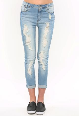 Distressed Capri Jeans | Shop Bottoms at Papaya Clothing