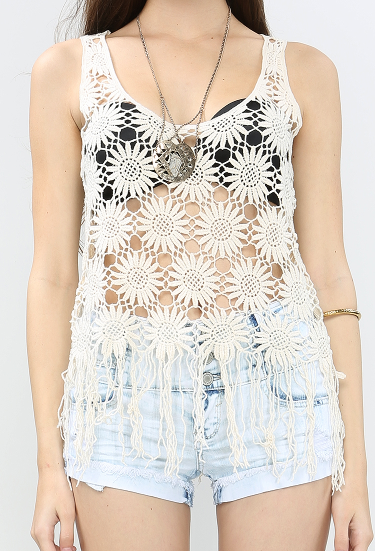 Sunflower Crochet Fringe Top Shop Old Tee Knit Tops At Papaya