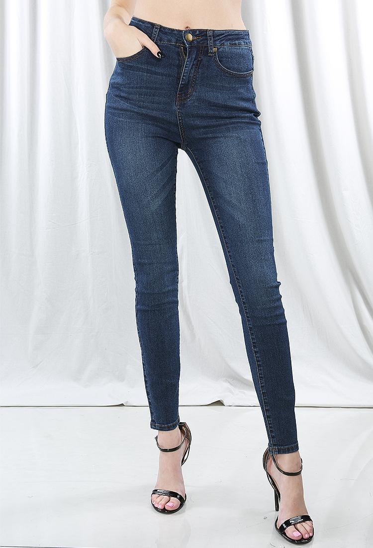 High Waisted Dark Denim Jeans | Shop Jeans at Papaya Clothing