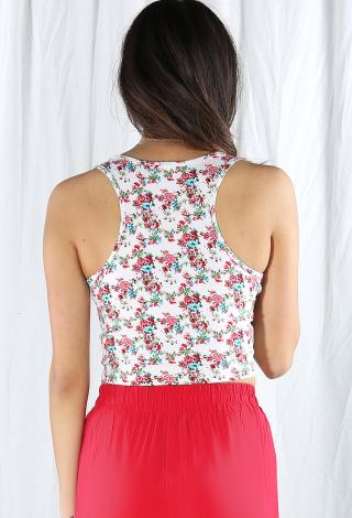 Rose Print Crop Top   Shop Tops At Papaya Clothing
