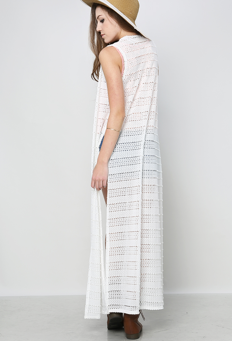 Textured Maxi Vest Cardigan | Shop Cardigans at Papaya Clothing