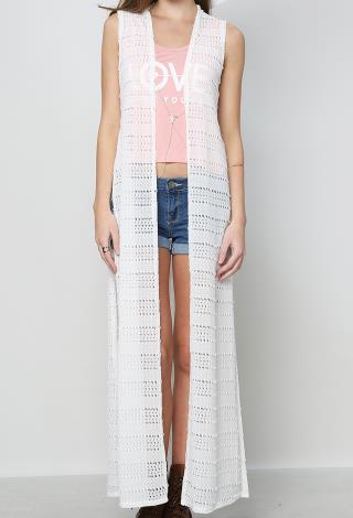 Textured Maxi Vest Cardigan | Shop Cardigans at Papaya Clothing