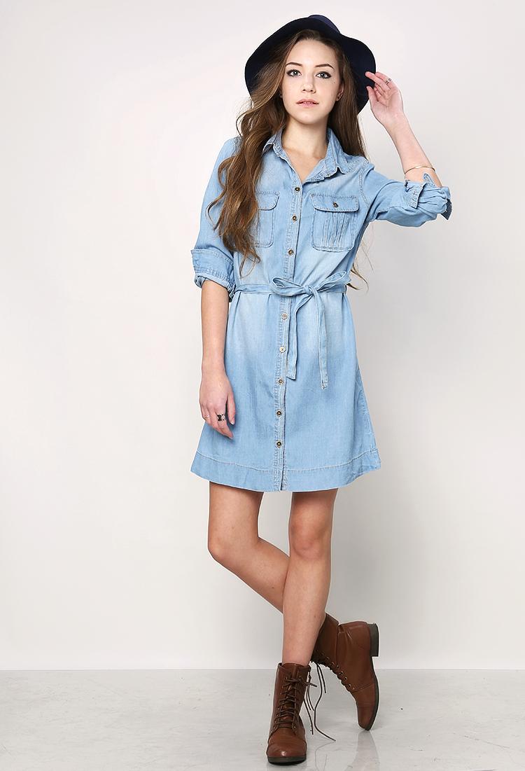 9a06ca94f3 Belted Denim Shirt Dress