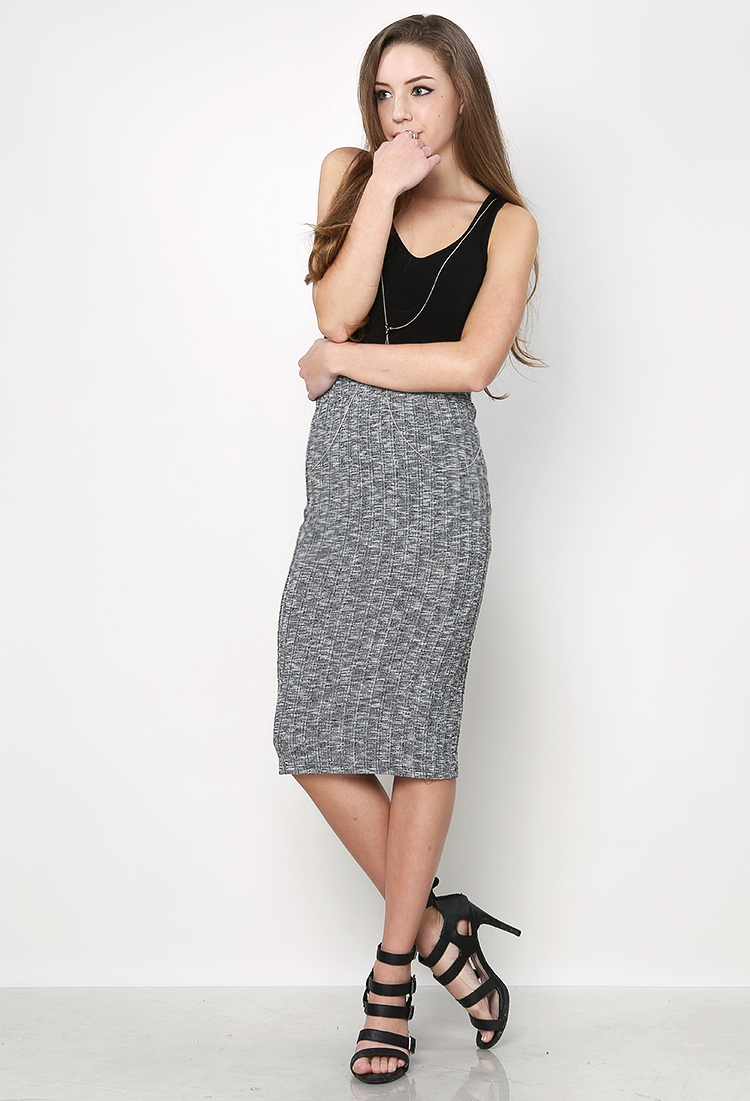 Marled Knit Midi Skirt | Shop Skirts at Papaya Clothing
