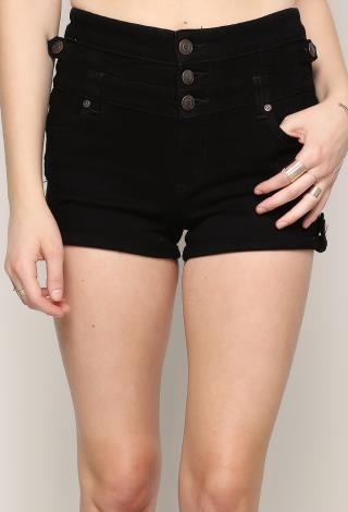 High Waist Distressed Black Denim Shorts | Shop Sale at Papaya ...