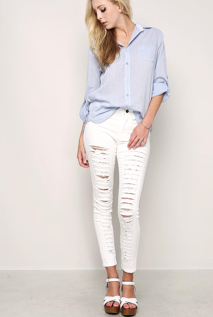 Destroyed White Denim Skinny Jeans | Shop Skinny at Papaya Clothing