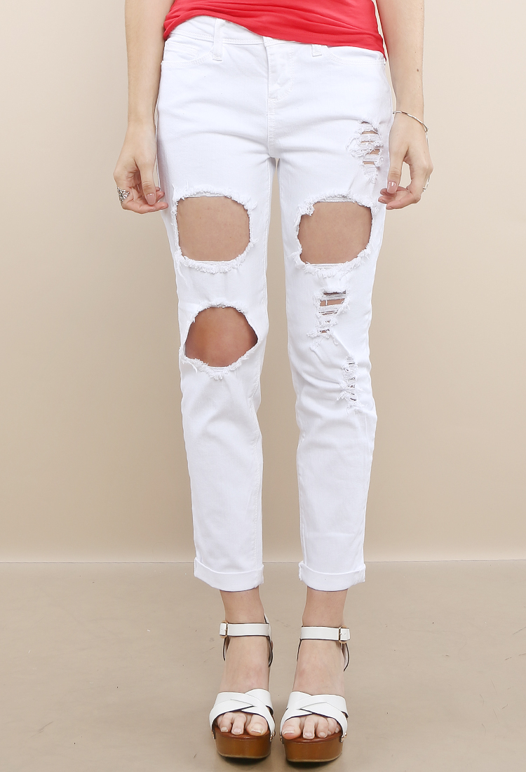 Distressed White Jeans | Shop Jeans at Papaya Clothing