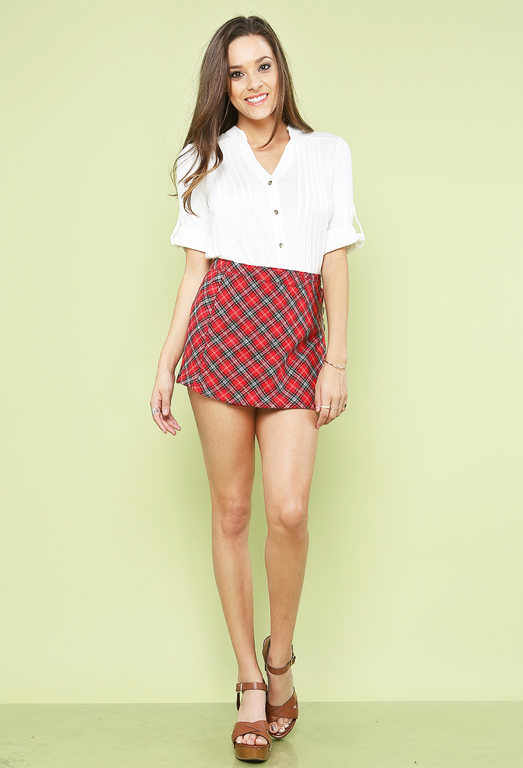 Plaid Double Point Short Skirt