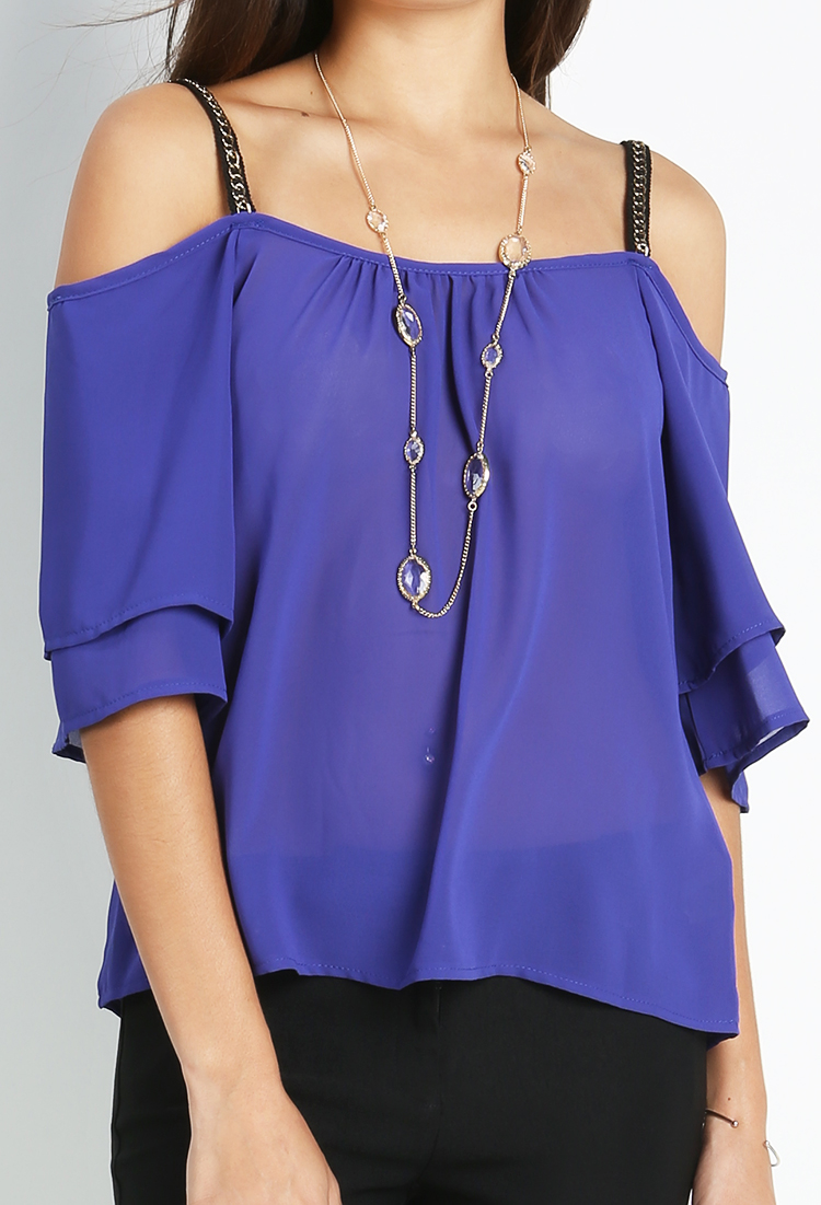 Off-Shoulder Chiffon Top | Shop Blouse & Shirts at Papaya Clothing