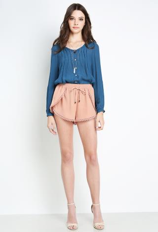 Crochet Hem Shorts Shorts Crochet Hem