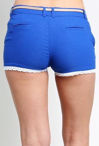 Crochet Hem Shorts Crochet Hem Shorts W/belt