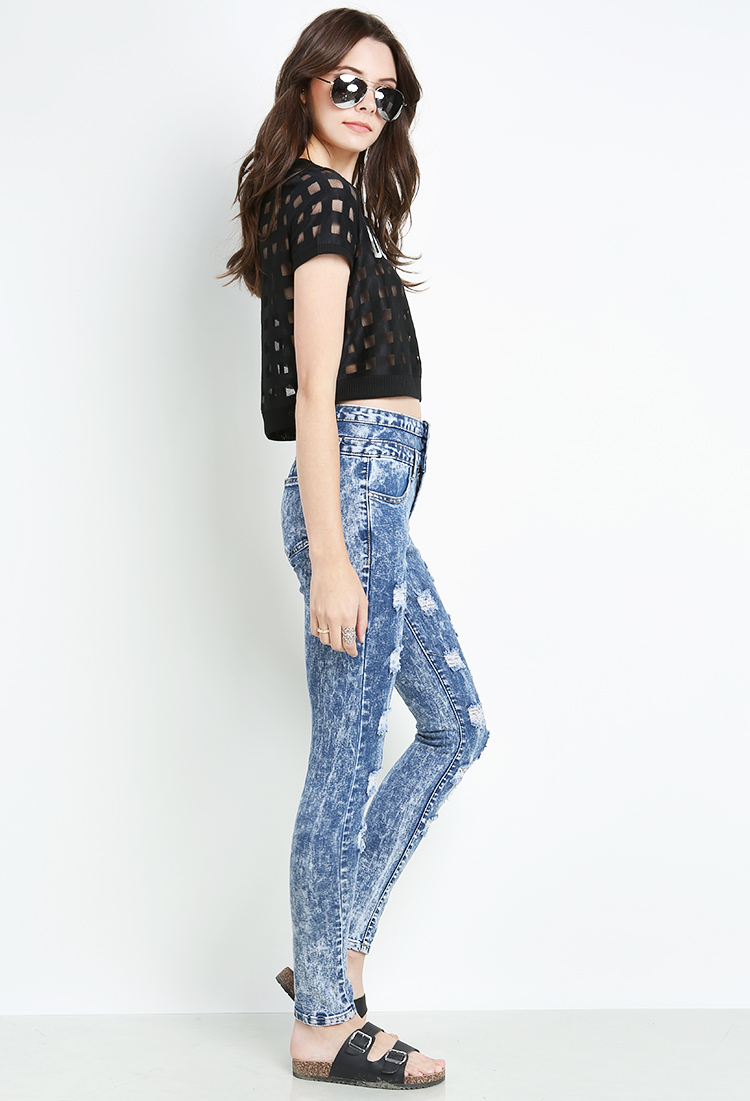 Destroyed Cloud Wash High-Waisted Jeans   Shop Under $10! at