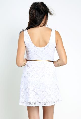 lace flare dress w belt shop dresses at papaya clothing