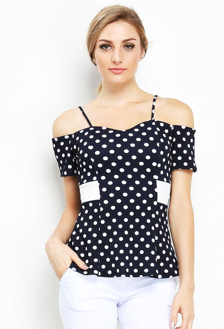 73e264466e2 Off Shoulder Polka Dot Print Top | Shop Old Cropped Tops & Bodysuits at  Papaya Clothing