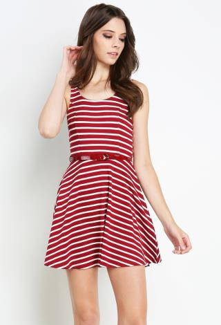 Striped Dress With Belt | Shop Red White & Blue at Papaya Clothing