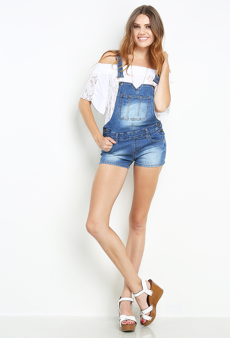 Denim Overall Shorts | Shop Bottoms at Papaya Clothing