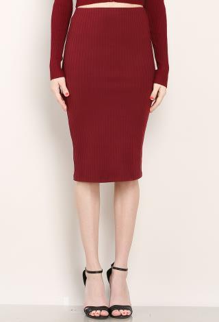 ribbed knit midi skirt shop dresses at papaya clothing