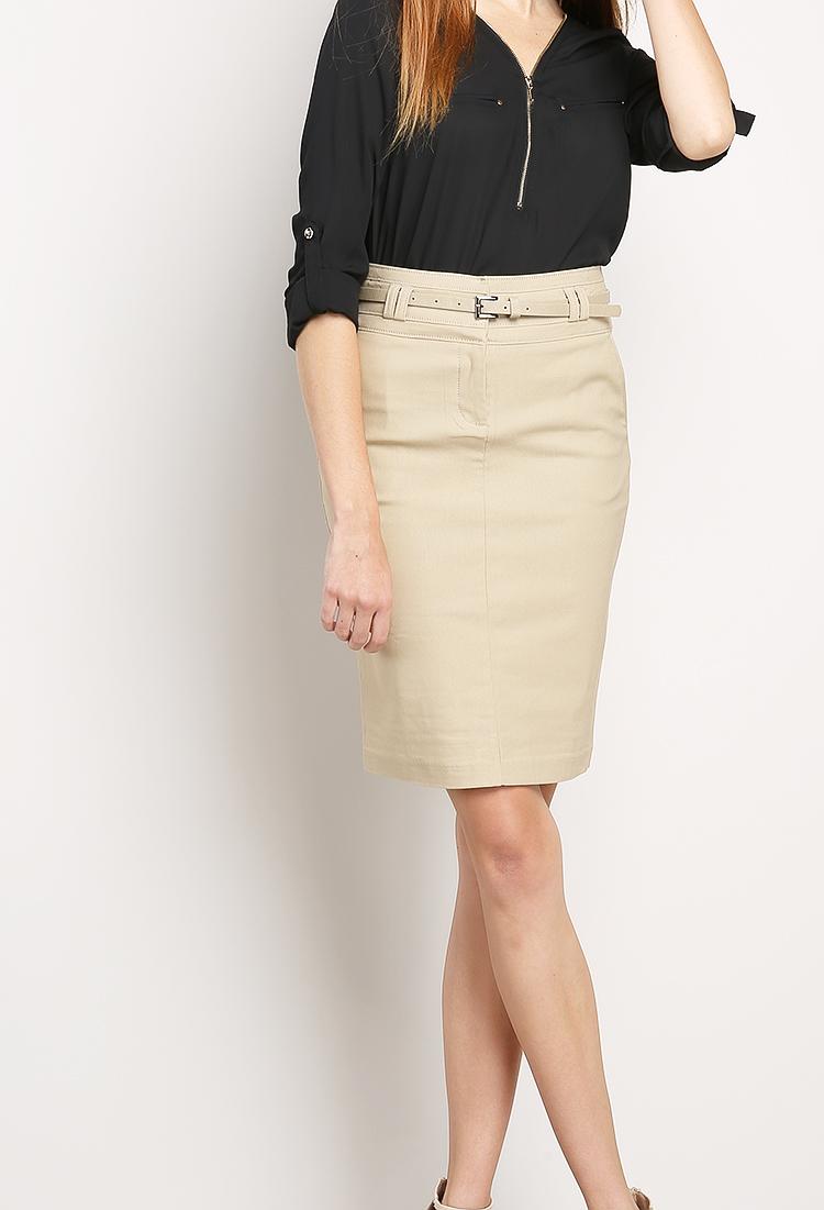 17952c172 Classic Pencil Skirt W/Belt | Shop Midi Skirts at Papaya Clothing