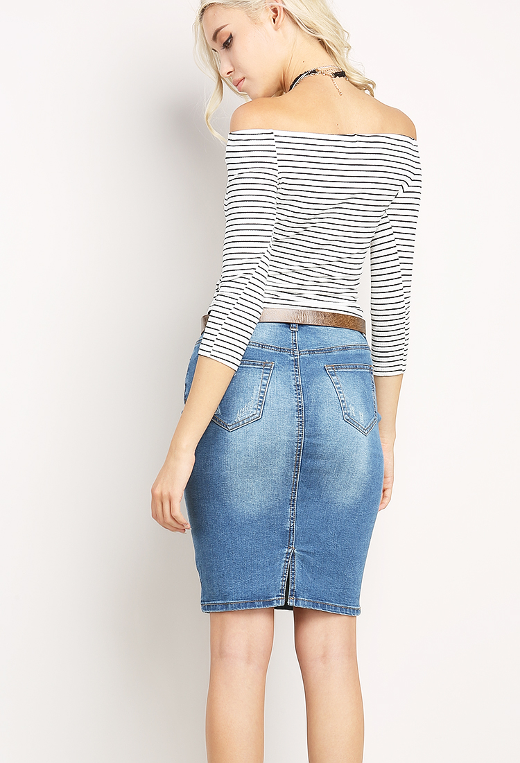 Distressed Midi Denim Skirt | Shop Clothing at Papaya Clothing