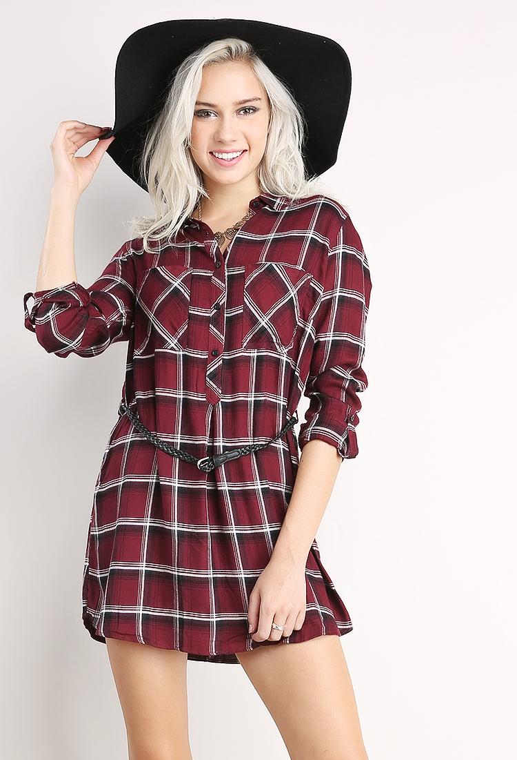 Plaid Flannel Dress | Shop Be Casual at Papaya Clothing