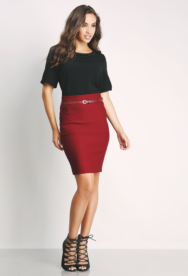 Dressy Midi Skirt W/Belt
