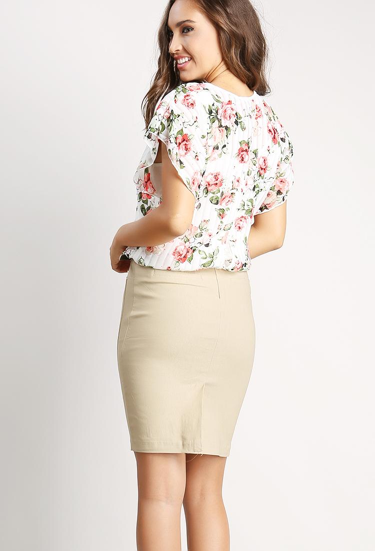 Dressy Midi Skirt W/Belt | Shop Midi Skirts at Papaya Clothing