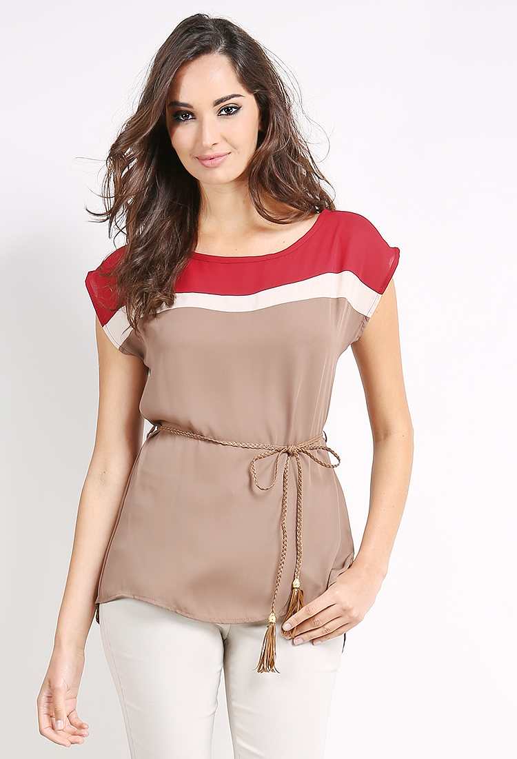 Colorblock Belted Chiffon Top