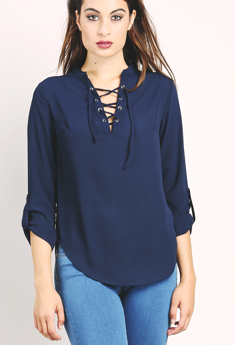 Lace-Up Chiffon Top | Shop Blouse & Shirts at Papaya Clothing