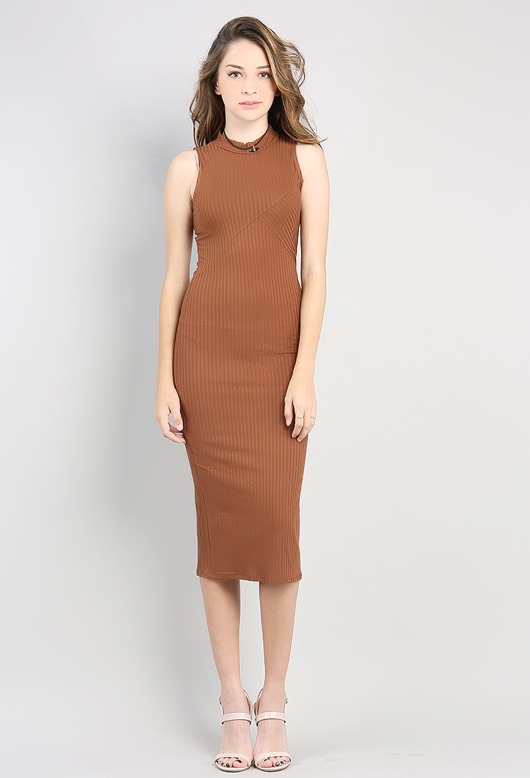 898e4c23a5d6 ... Sleeveless Ribbed Midi Dress ...