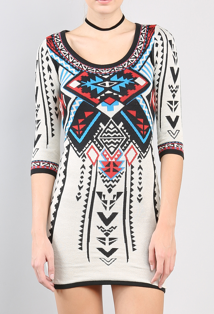Aztec Knitting Patterns : Aztec Pattern Knit Dress Shop Sweaters & Cardigans at Papaya Clothing