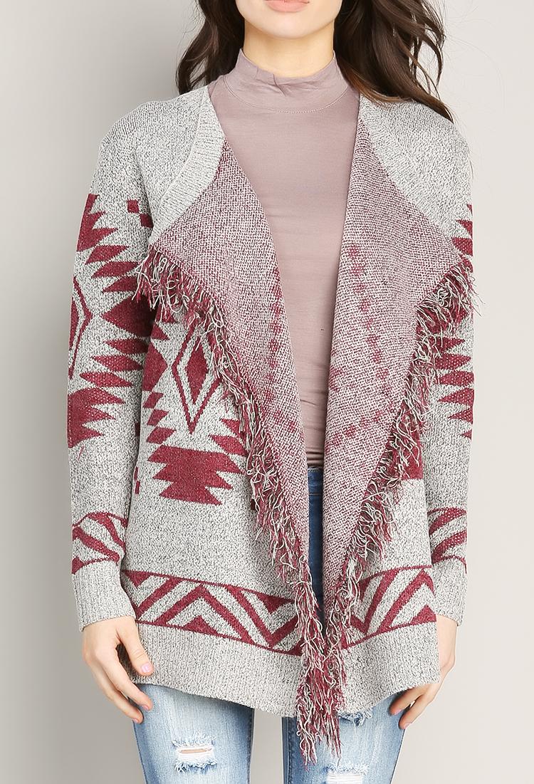 Aztec Pattern Knit Cardigan Shop Sweaters & Cardigans at Papaya Clothing
