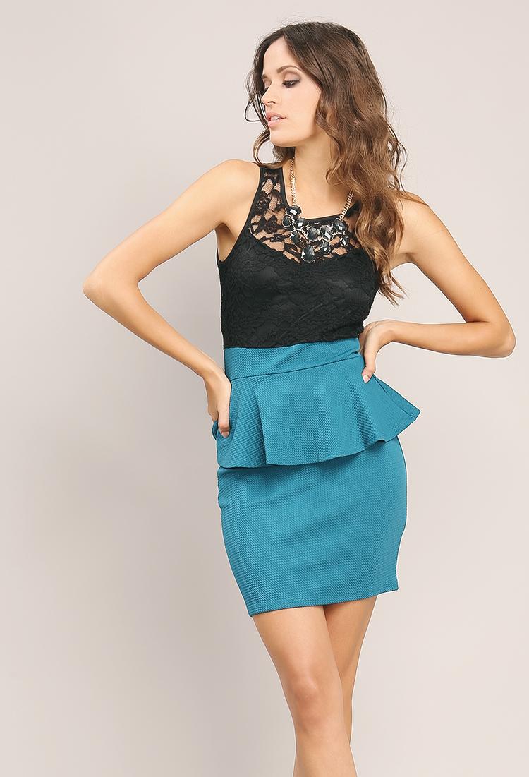 Colorblock Peplum Dress | Shop New And Now at Papaya Clothing