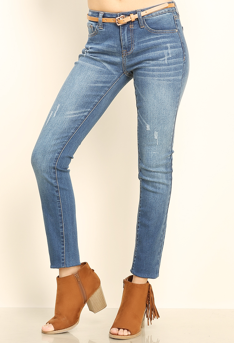 Premium Denim Jeans W/Belt | Shop Bottoms At Papaya Clothing