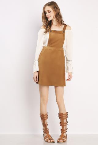 Suede Overall Skirt | Shop Day Dresses at Papaya Clothing