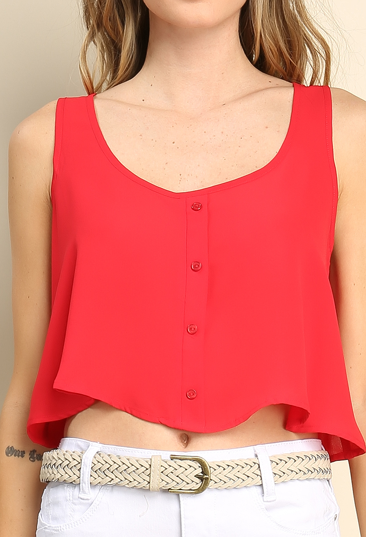 Sleeveless Chiffon Crop Top