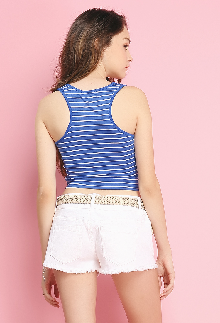 Shop bebe for: Tops - Striped Smocked Crop Top - Because it's crop top season. This twill style has allover smocking, so it really hugs your body, and there's a frilly ruffle hem that makes it extra cute. It also has adjustable straps. Pretty with jeans or cutoffs and some wedge heels.