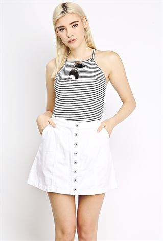 White Denim Skirt | Shop Mini Skirts at Papaya Clothing