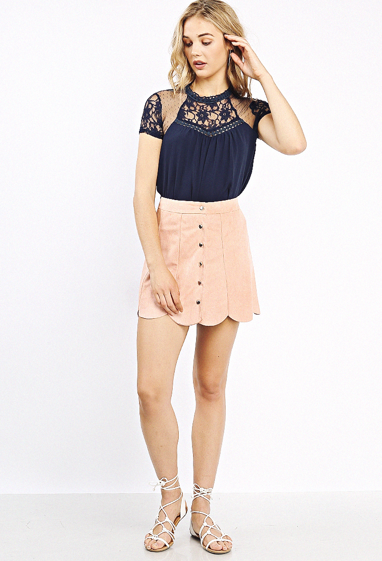 f7d0a4ea4 Scallop Hem Suede Skirt | Shop at Papaya Clothing