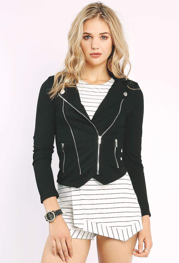 Ribbed Knit Moto Jacket | Shop Outerwear at Papaya Clothing